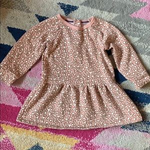 Baby Boden pink leopard print sweatshirt dress